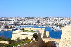 View of Senglea and Vittoriosa from Valletta. View towards Senglea and Vittoriosa seen from Valletta, Valletta, Malta, Europe Royalty Free Stock Images