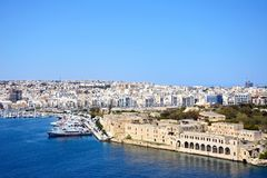 View of Senglea and Vittoriosa from Valletta. View towards Senglea and Vittoriosa seen from Valletta, Valletta, Malta, Europe Stock Image
