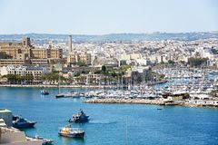 View of Senglea and Vittoriosa from Valletta. View towards Senglea and Vittoriosa seen from Valletta, Valletta, Malta, Europe Royalty Free Stock Photography