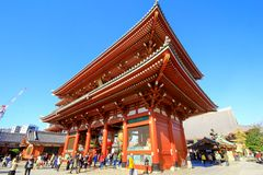 View of Sensoji temple, also known as Asakusa Kannon. Most popular for tourists and It`s the oldest Temple in Tokyo royalty free stock photo