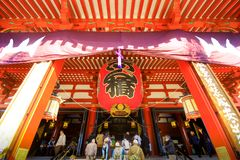 View of Sensoji temple, also known as Asakusa Kannon. Most popular for tourists and It`s the oldest Temple in Tokyo stock photography