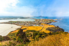 View from Seongsan Ilchulbong moutain in Jeju Island, South Kore Royalty Free Stock Photos