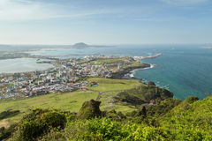 View from Seongsan Ilchulbong Peak on Jeju Island Royalty Free Stock Photos
