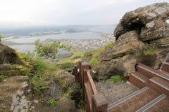 View of Seongsan Sunrise Peak Stock Photo