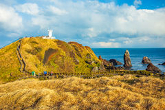 View of Seopjikoji Mountain Jeju Island, South Korea.  stock images