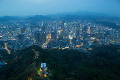 View of Seoul from above at dusk Stock Image