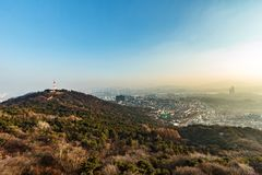 View of Seoul city from Namsan tower. stock photos