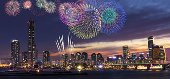 View of Seoul and Firework. At Yeouido in the summer Seoul, South Korea Stock Photos