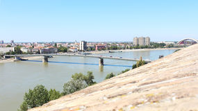 View of the Serbian city of Novi Sad and the bridge over the Dan stock image