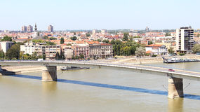 View of the Serbian city of Novi Sad and the bridge over the Dan. Ube river from the fortress Petrovardin stock photography