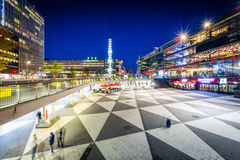 View of Sergels Torg at night, in Norrmalm, Stockholm, Sweden. Royalty Free Stock Photography
