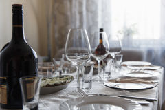 View of the served table Royalty Free Stock Photo