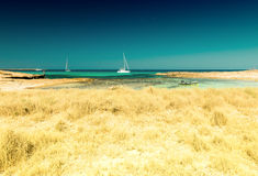 View of Ses Illetes Beach in Formentera, Balearic Islands, Spain Royalty Free Stock Photography