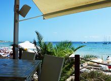 View of Ses Salines beach from restaurant on the beach, Ibiza Island, Spain Stock Photo