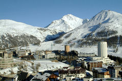 View of Sestriere - Turin - Italy. A winter view of sestieres in the valley of Turin Olympic Winter Games 2006 - sky Stock Image
