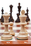 View of set of chess pieces from king and queen Royalty Free Stock Photos