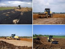 Set of grader. View of Set grader on construction site Royalty Free Stock Image