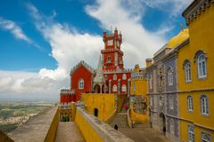 Pena Palace all in yellow and red royalty free stock images