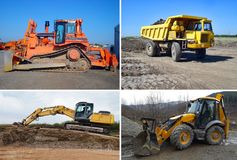 Set of machinery. View of Set truck, bulldozer, backhoe and excavator Stock Photography