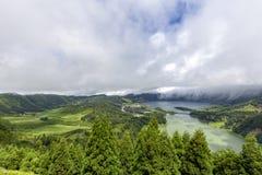 View of Sete Cidades. Beautiful view of lakes and massive Sete Cidades caldera on the island of Sao Miguel, Azores stock photos