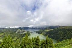 View of Sete Cidades. From the Miradouroda Vista do Rei in Sao Miguel, Azores stock image