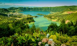 View of Sete Cidades in Sao Miguel island, Azores, Portugal royalty free stock images