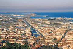 Sete on sundown, France. View at Sete from the Mount of St. Clair, south of France royalty free stock photo