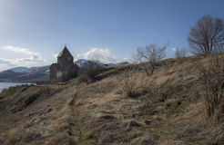 View on Sevanavank Monastery near of Sevan Lake and snowy mountains Royalty Free Stock Photo