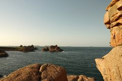 Sept Iles from Pink Granite coast near Perros Guirec in Brittany. View on the seven islands archipelo. Actually 5 islands and 2 rocks. Côte de Granit Rose is stock photos