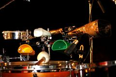 Cowbell instruments. View of several cowbell instruments installed on a drum kit royalty free stock photo