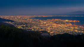 View of several Japanese cities in the Kansai region from Mt. Ma Royalty Free Stock Photography