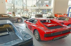 Modern classic car showroom, london. View of several modern classic cars in a in London showroom, London, europe Royalty Free Stock Photos