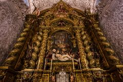 Hospital de la caridad church, Seville, spain. A view in SEVILLE, ANDALUSIA, SPAIN, MAY, 26, 2017 : interiors  of  hospital de la caridad church, may 26 2017, in Royalty Free Stock Image