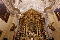 Hospital de la caridad church, Seville, spain. A view in SEVILLE, ANDALUSIA, SPAIN, MAY, 26, 2017 : interiors  of  hospital de la caridad church, may 26 2017, in Stock Image