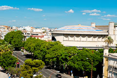 View of Seville and bullfighting arena Stock Photos