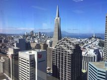 SAN FRANCISCO VIEW FROM DOWNTOWN. VIEW OF SF FROM SF BUILDING DOWNTOWN Royalty Free Stock Photo