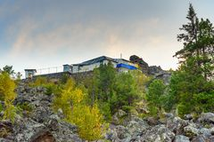 Shad Tchup Ling Buddhist monastery on mountain Kachkanar. Russia Royalty Free Stock Images