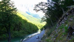 View of shady street in Los Glacieres Nationa Park stock video footage
