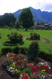 View from a Shalimar Garden-7. A beautiful scene of a lush green field with a backdrop of mountain clouds in a Kashmir Stock Image