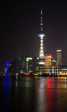 View of Shanghai Pudong Skyline at night. Time Stock Image