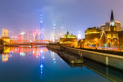 View shanghai skyline from suzhou river Royalty Free Stock Photos