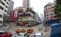 View of Shanghai Street in Mongkok, Hong Kong. Royalty Free Stock Image