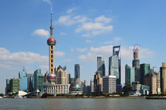 View of Shanghai World Financial Center. From the Bund stock photography