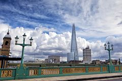 View Shard building from Southwark Bridge in London Stock Photography