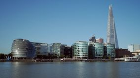 View of the Shard and City Hall on the South Bank stock footage