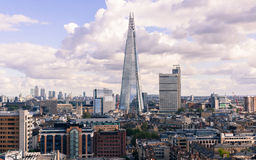 View of the Shard and Guy's Hospital with Canary wharf in the distance. Stock Images