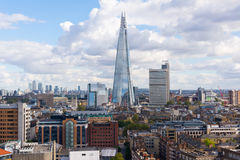 View of the Shard and Guy's Hospital with Canary wharf in the distance. Royalty Free Stock Photo