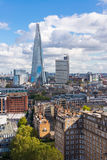 View of the Shard and Guy's Hospital with Canary wharf in the distance. Stock Image