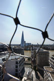 View of the Shard, London behind wire net Royalty Free Stock Photos