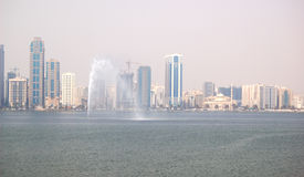 The view on Sharjah fountain and man-made lake Royalty Free Stock Images